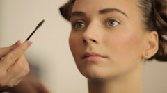 Makeup eyebrow color models before the show Stock Footage