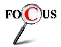 focus word concept with magnifying glass - stock illustration