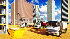 Different machinery at construction site Stock Illustration