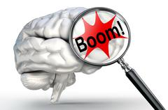boom explosion word on magnifying glass and human brain - stock illustration