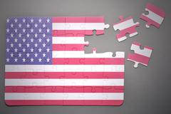 Stock Photo of puzzle with the national flag of united states of america