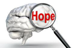 hope word on magnifying glass and human brain - stock illustration