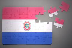 puzzle with the national flag of paraguay - stock photo