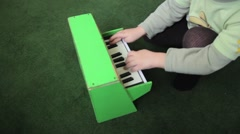 Child Playing Piano Stock Footage