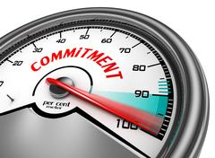 total commitment symbol concept with meter - stock illustration