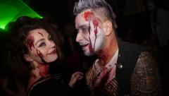 Celebrating Halloween in nightclub in costume party Stock Footage
