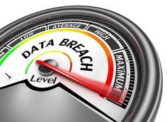 Data breach level to maximum modern conceptual meter - stock illustration