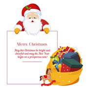 Christmas card with Santa Claus - stock illustration