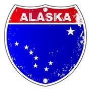 Alaska Interstate Sign - stock illustration