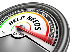 Help needs level to maximum conceptual meter Stock Illustration