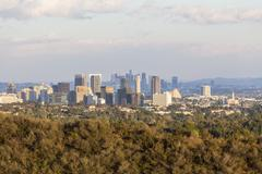 Century City and Downtown Los Angeles in Late Afternoon Light Stock Photos