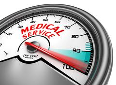 Medical service to hundred per cent conceptual meter Stock Illustration