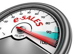 on line internet sales to hundred per cent conceptual meter - stock illustration