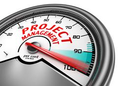 Stock Illustration of project management to hundred per cent conceptual meter
