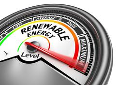 Renewable energy to maximum level modern conceptual meter Stock Illustration