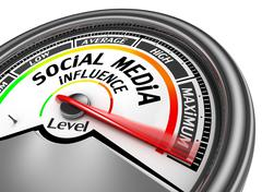 Social media influence level to maximum conceptual meter Stock Illustration