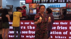 In Lotteria fast food restaurant interrior view Stock Footage