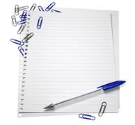 Notepaper with a pen and paper clips, isolated on white - stock illustration