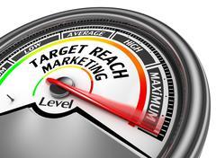 Target reach management level to maximum modern conceptual meter - stock illustration