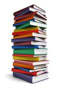 Tall stack of Books isolated on white background Stock Illustration