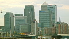 Emirates Air Line and Canary Wharf in London, time-lapse Stock Footage
