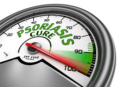 Psoriasis cure conceptual meter indicate maximum - stock illustration