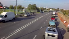 Aerial summer autumn River Road with car by drone Stock Footage