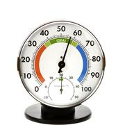 Analog hygrometer and thermometer - everything is in the green Stock Photos