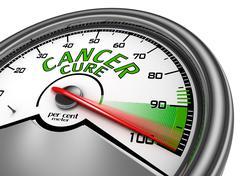 Cancer cure conceptual meter indicate maximum - stock illustration