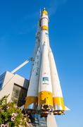 """Real """"Soyuz"""" type space rocket as a monument in front of Samara Cosmos Museum Stock Photos"""