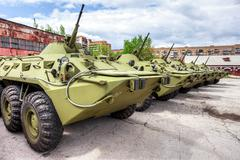 Russian Army BTR-80 wheeled armoured vehicle personnel carrier Stock Photos