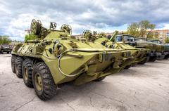 Wheeled armored recovery vehicle ARV-K based on the BTR-80 - stock photo