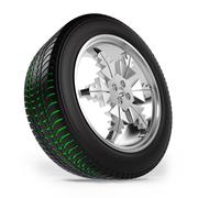 winter tire on the rim in the form of snowflakes with separate tread - stock illustration