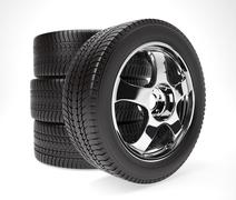 New car wheel with winter tire stacked up and isolated on white background - stock illustration
