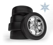 set winter tire on the rim in the form of snowflakes - stock illustration