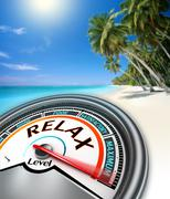 realax conceptual meter on exotic beach - stock illustration