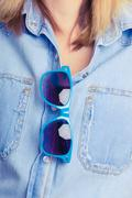 Summer girl with sunglasses Stock Photos