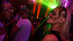 Stock Video Footage of Celebrating Halloween in nightclub in costume party