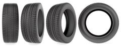 Winter tires in different angles isolated on the white background Stock Illustration