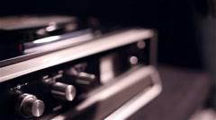 Vintage tape recorder working, slider shot Stock Footage