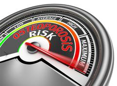 Osteoporosis risk conceptual meter indicate maximum Stock Illustration