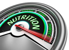 Nutrition conceptual meter indicate perfect Stock Illustration