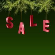 Christmas sale red tags over green background with fir branches - stock illustration