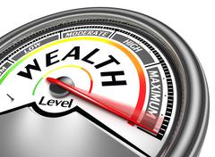 Wealth level conceptual meter Stock Illustration
