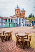 Stock Photo of Beautiful Old town replica, Guatape, Colombia