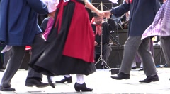 French folk street cabaret. actors, musicians and dancers - stock footage