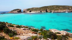 The world famous Blue Lagoon in Comino island.Malta Stock Footage