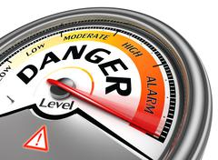 danger level conceptual meter - stock illustration