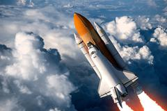 Space Shuttle Launch In The Clouds Stock Illustration