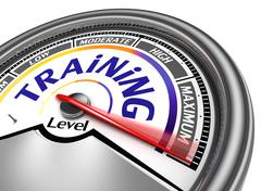 Training level conceptual meter Stock Illustration